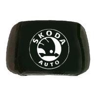 Чехлы на подголовники черные с логотипом Skoda 2шт
