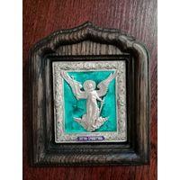 """Икона """"Ангел хранитель"""". киот дуб, серебрение, эмаль"""