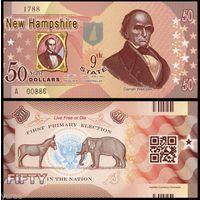 США - 50 Dollars - 9 штат New Hampshire - 2014 - Polymer - UNC