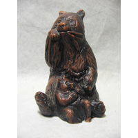 Статуэтка фигурка Медведица медведь с медвежонком, карболит бакелит