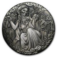 "Тувалу 2 доллара 2017г. ""Богиня Фригга"". Монета в деревянном подарочном футляре; номерной сертификат; коробка. СЕРЕБРО 62,27гр.(2 oz)."