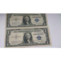 2 банкноты по 1 доллару США 1935 года  серебряный сертификат с синей печатью, банкнота, хорошее качество XF  Серия 1935