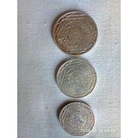 Лот монет 5, 10, 15 евро Франция серебро 2008 - 2009 год.