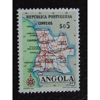 Португальская колония Ангола 1955г. Карта.