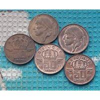Бельгия 50 центов 90-е, АU. Корона.