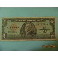 Куба 5 песо 1960 г.