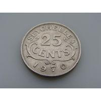"""Сейшельские острова. """"Сейшелы"""" """"Британская колония"""" 25 центов 1970 год KM#11"""