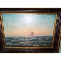 """Картина """"Морской пейзаж"""" холст, масло,подпись автора 19 век."""
