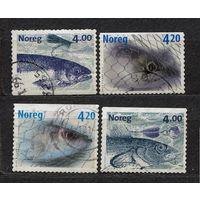 Рыбалка, рыбы. 1999-2000. Норвегия. Полная серия 4 марки.