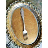 Вилка, надпись ADELE, клеймо, Европа, латунь посеребрение, длина 18 см