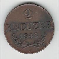 Австрия 2 крейцера 1848 года. Буква А. Состояние!