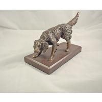 Старая бронзовая статуэтка Собака сеттер, на подставке.