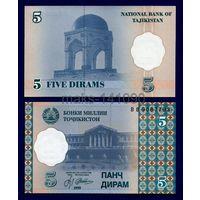 Таджикистан 5 дирам 1999г. ВВ. Состояние UNC .    распродажа