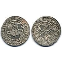 Полугрош 1515, Жигимонт Старый, Вильно. Окончания легенд: Ав - ':1515:', Рв - 'LITVANIE:'