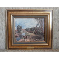 Репродукция Бурлаки на Эльбе художник F. Gauermann 1807 - 1862 размер 38 х 33 (26.5 х 21.5) см.