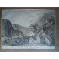 Офорт Вид на долину в горах и мост. 1780-е годы.