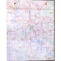 Карта Москва, схема маршрутов автобусов, маршрутных такси, троллейбусов и трамваев. 1980 г.