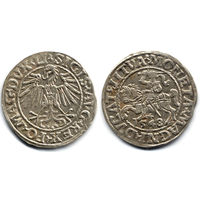 Полугрош 1548, Жигимонт Август, Вильно. Окончания легенд: Ав - LI, Рв - LITVA. Дата - маленькими цифрами, первая цифра - арабская. Коллекционное состояние