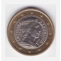 Латвия 1 евро 2014 биметалл