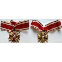 Орден Св.Станислава II степени с мечами. 1915-1916 гг., фирма 'Эдуард', бронза, позолота, эмаль, оригинальные подвес и орденская лента