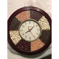 Часы рабочие кварц на кухню декорированные бобовыми и кофейными зернами