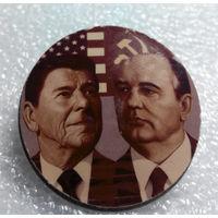 Значок. Р. Рейган, М. Горбачев #0054