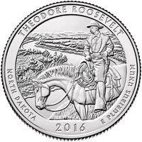 США25 центов 2016 Теодор-Рузвельт парк 34 D