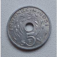 Индонезия 5 сенов, 1951 7-1-55