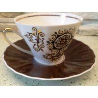 Кофейная чашка с блюдцем тонкий фарфор Рига RPR