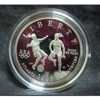 США 1/2 доллара 1996 S. Олимпиада. Атланта. Женский футбол. Редкость.