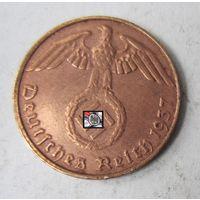 Третий рейх. 1 рейхспфенниг 1937 D.  2-116