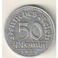Германия 50 пфенниг 1921 F
