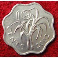 6828:  10 центов 2002 Свазиленд