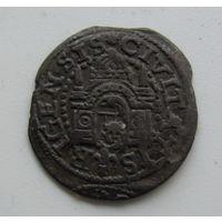 Шиллинг вольной Риги 1577 цифры даты перевернуты.Редкий..