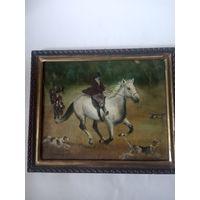 Картина Охота масло деревянная рамка