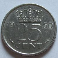 Нидерланды 25 центов 1950 г