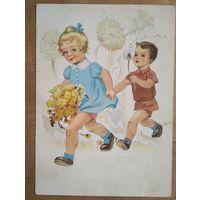 Дети с одуванчиками. Германия. 1950-е. Подписана