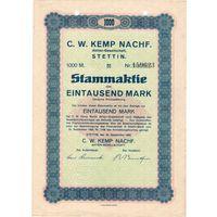 Германия, Штеттин, акция на 1000 марок, 1923 г.