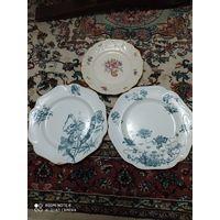 Три тарелки 19в.Кузнецов, одна Германия (фарфоравая)