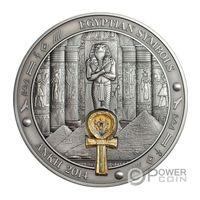 """Палау 20 долларов 2014г. """"Символы Египта: АНХ """". Монета в капсуле; шикарном деревянном подарочном футляре; сертификат, коробка. СЕРЕБРО 93,311гр.(3 oz)."""