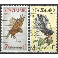 Новая Зеландия. Птицы. Попугай и серая веерохвостка. 1965г. Mi#442-43. Серия.