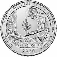 25 центов США 2020 г.  54 й Исторический парк Марш-Биллингс-Рокфеллер Р