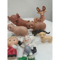 Игрушки зверюшки плотная резина из СССР