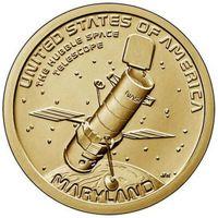 1 доллар 2020  США Серия Инновации Космический телескоп Хаббл. Мэриленд. двор D UNC!