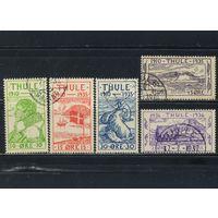 Дания Гренландия Туле Локал 1935-6 Расмуссен Флаг Морж Мыс Йорк Кирха Стандарт #1-5