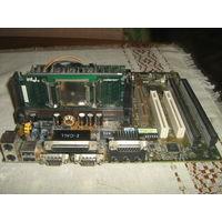 Материнская плата в сборе с кулером и процессором и планками  оперативной памяти-2 штуки