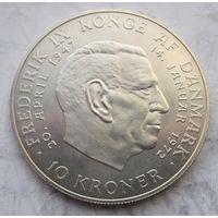 Дания, 10 крон, 1972, серебро