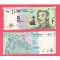 Банкнота Аргентина 5 песо (2015) UNC ПРЕСС новая серия
