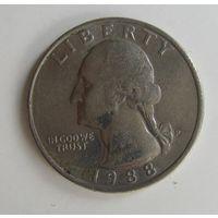 США. Квотер 1988 P  .10а-331