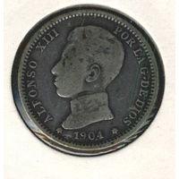 Испания 1 песета 1904 г. Серебро.